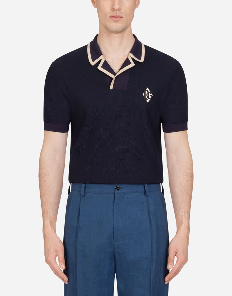 Polo Jersey Di Seta E Cotone Con Patch - Dolce & Gabbana