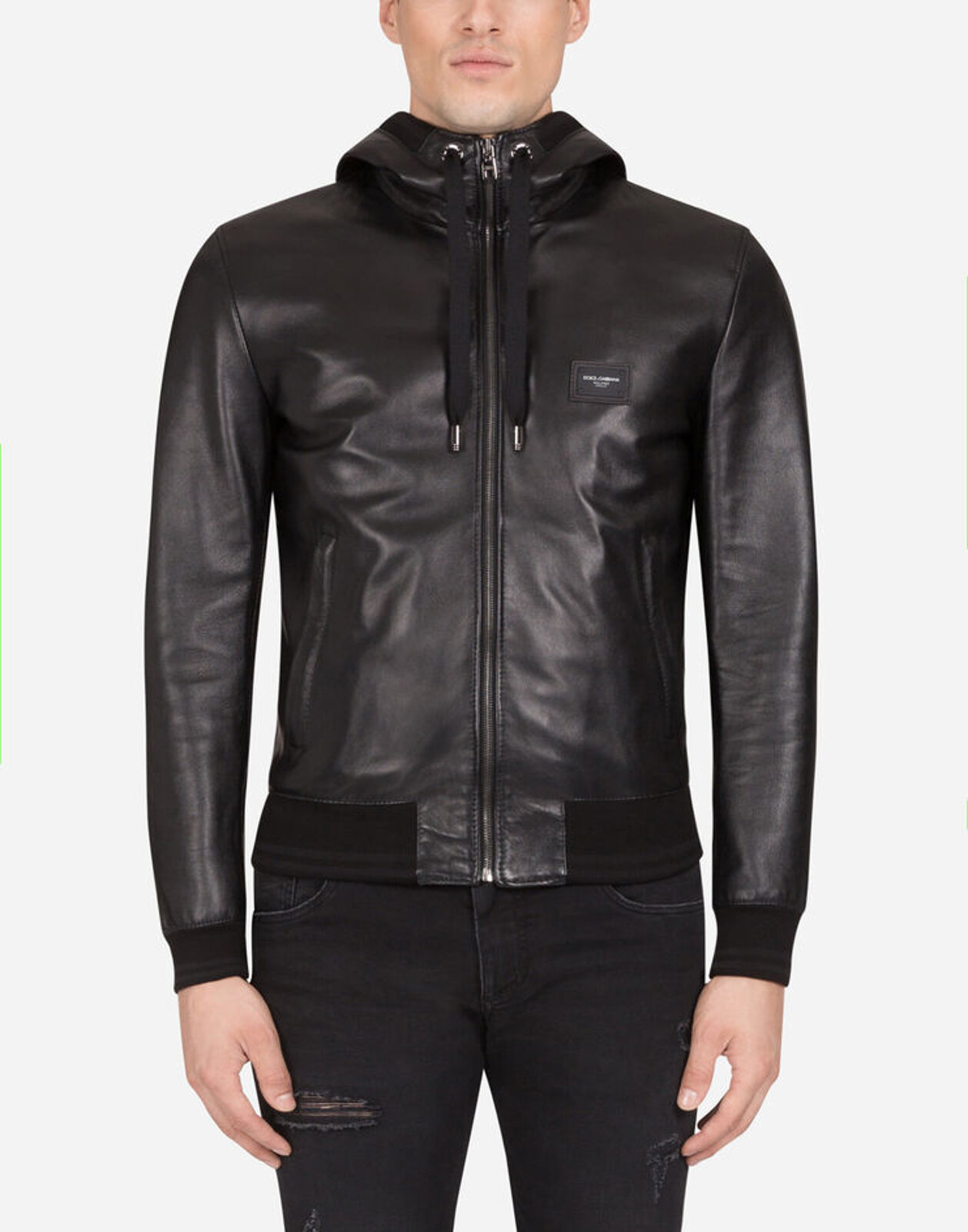 Leather Jacket With Hood And Logo Plate - Dolce & Gabbana