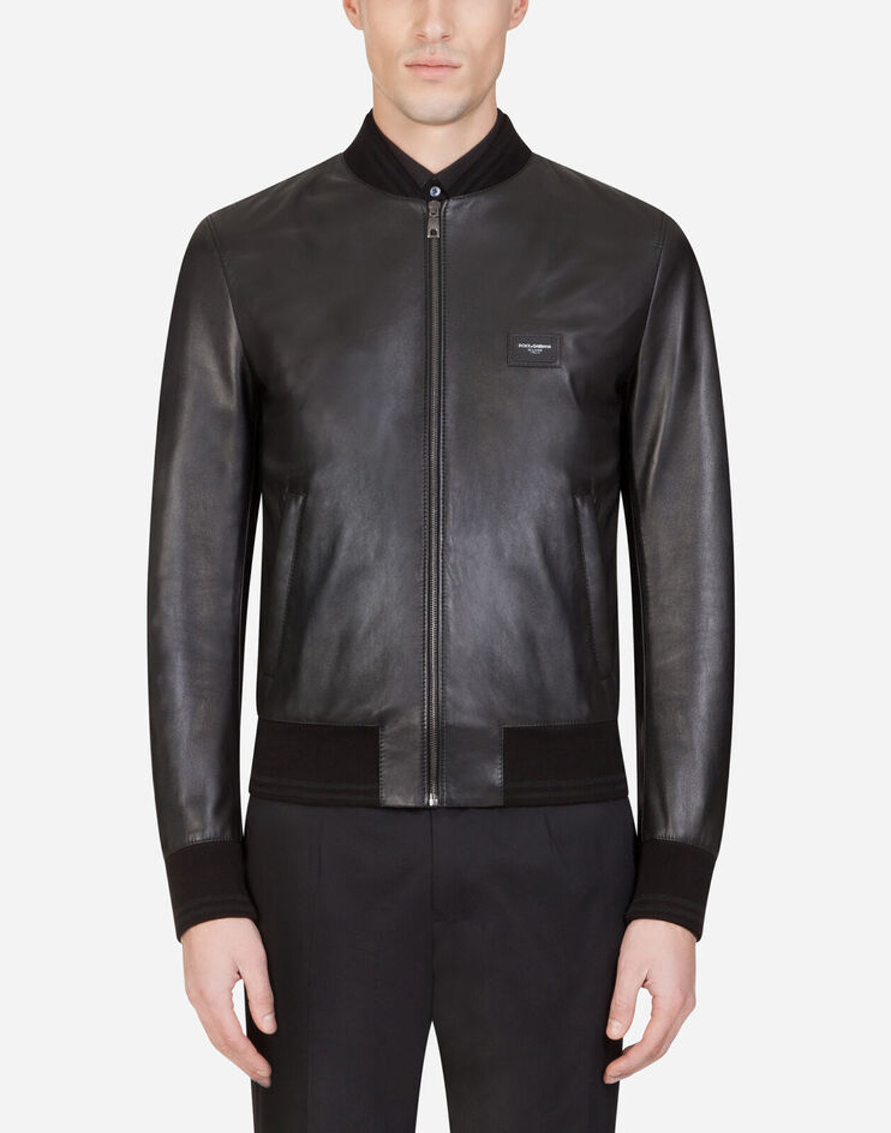 Leather Jacket With Logo Plate - Dolce & Gabbana