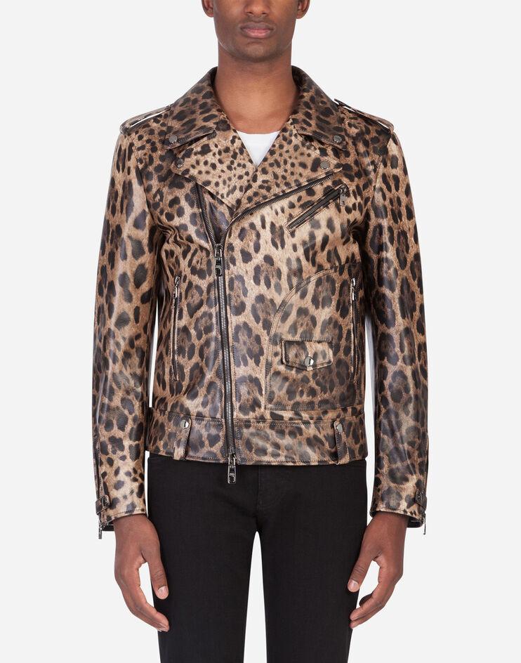 Giubbotto In Pelle D'Agnello Stampa Leopardo - Dolce & Gabbana