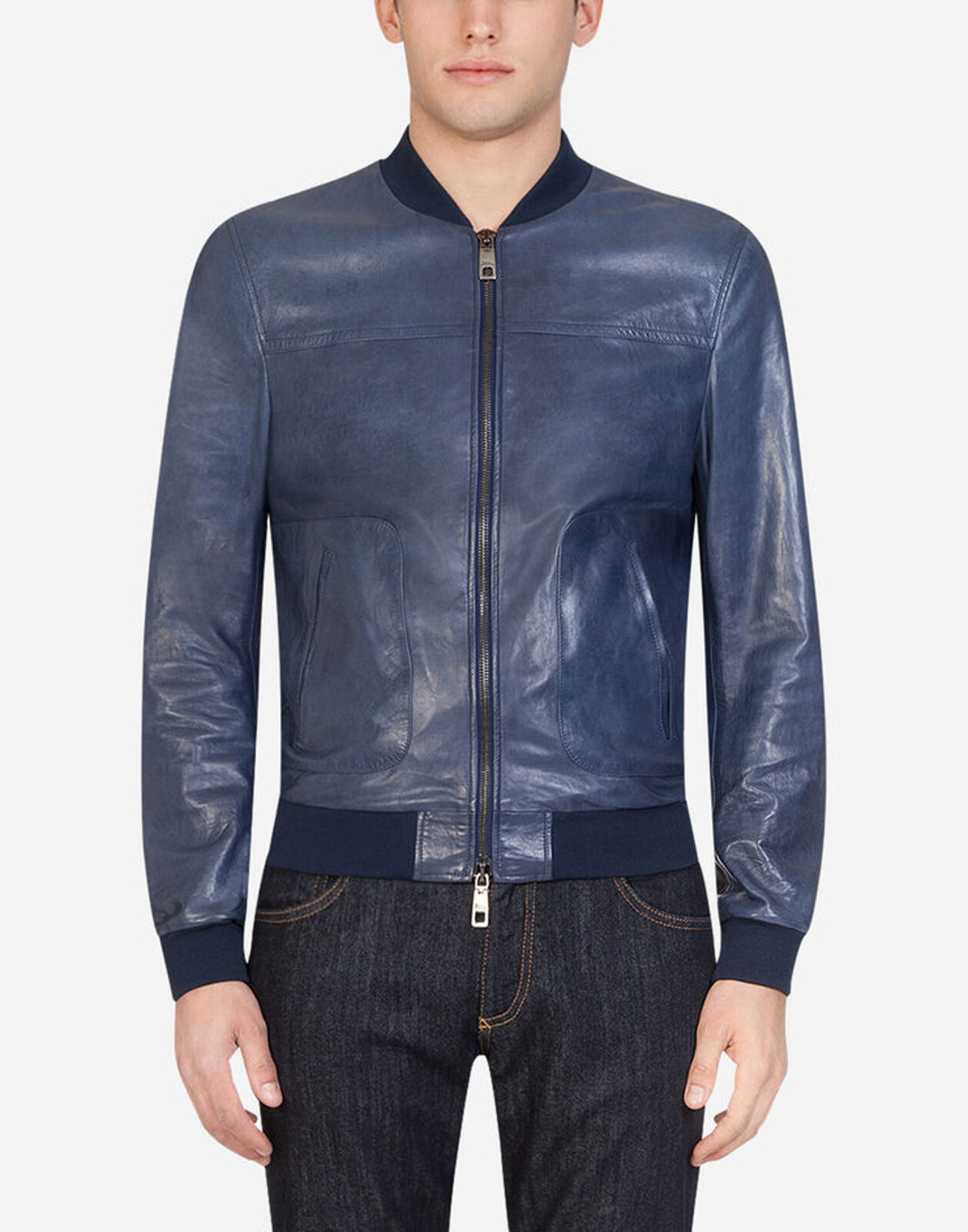 Leather Jacket With Zip - Dolce & Gabbana