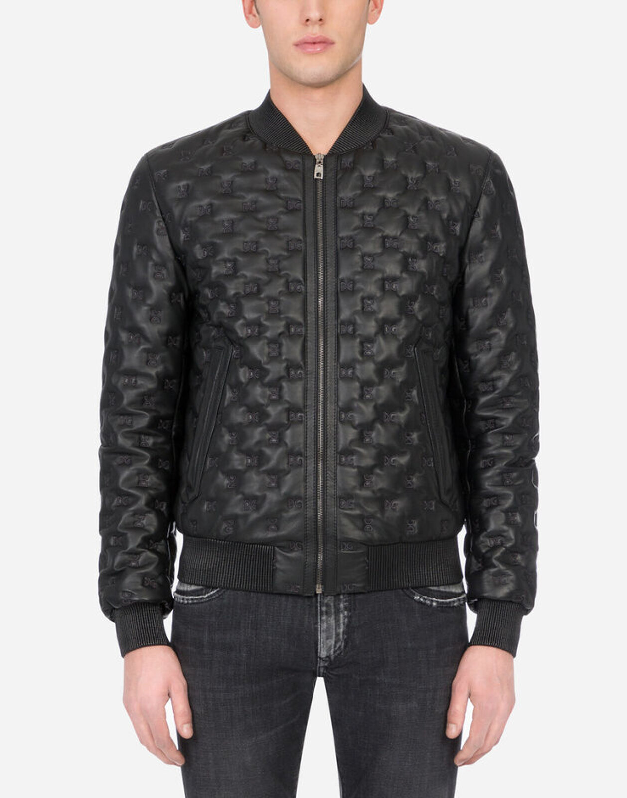 Quilted Leather Jacket With Embroidery Dg - Dolce & Gabbana