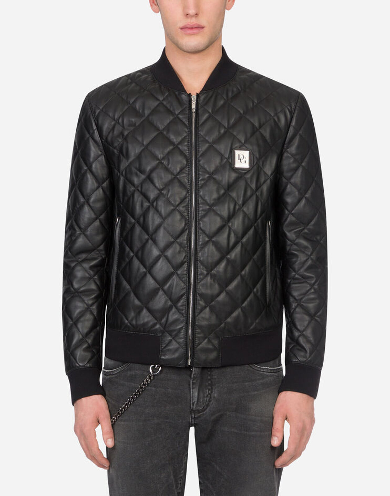 Quilted Leather Jacket With Logo Plate - Dolce & Gabbana