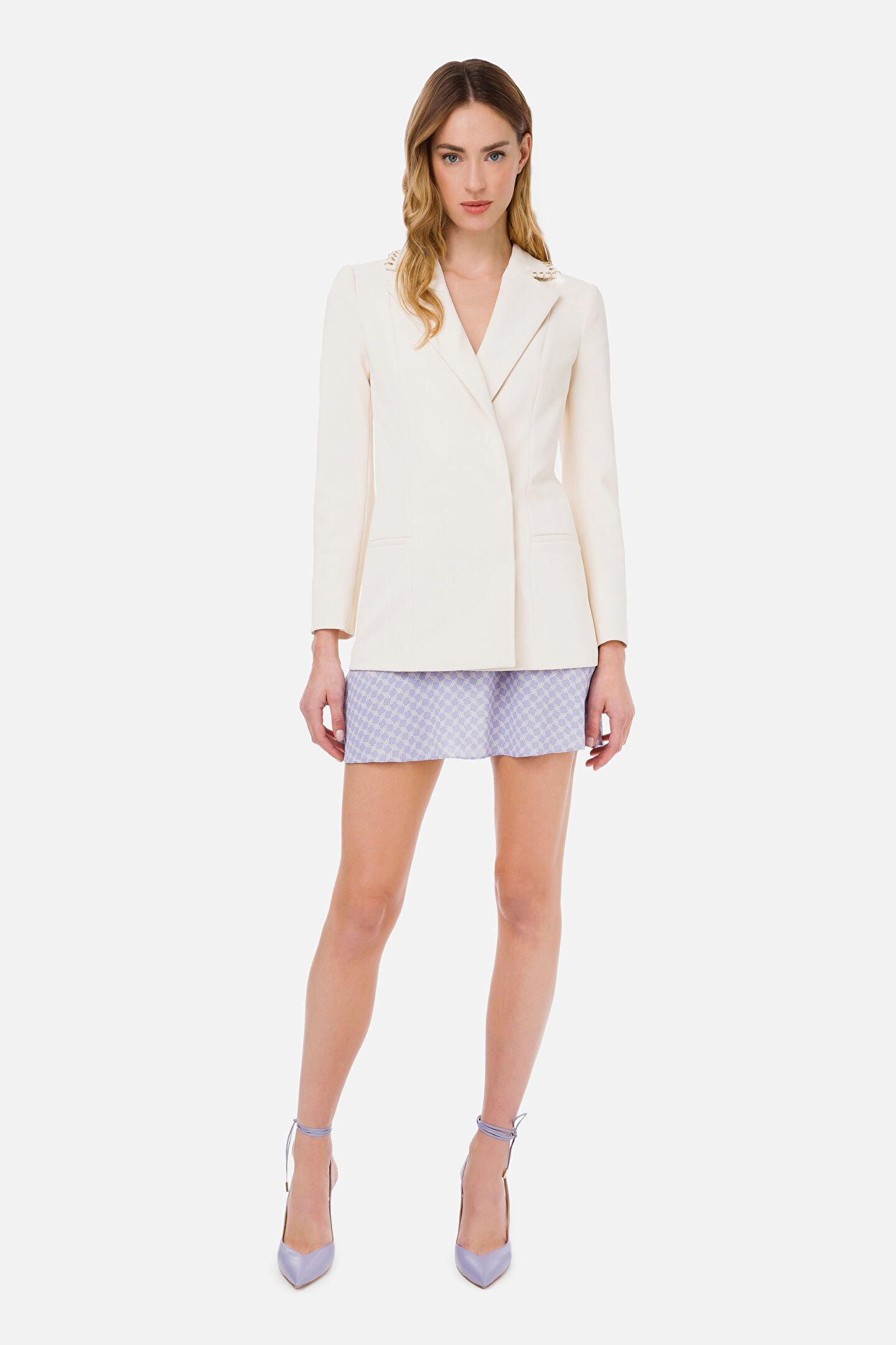 Elisabetta Franchi Jacket With Light Gold Piercing - Elisabetta Franchi