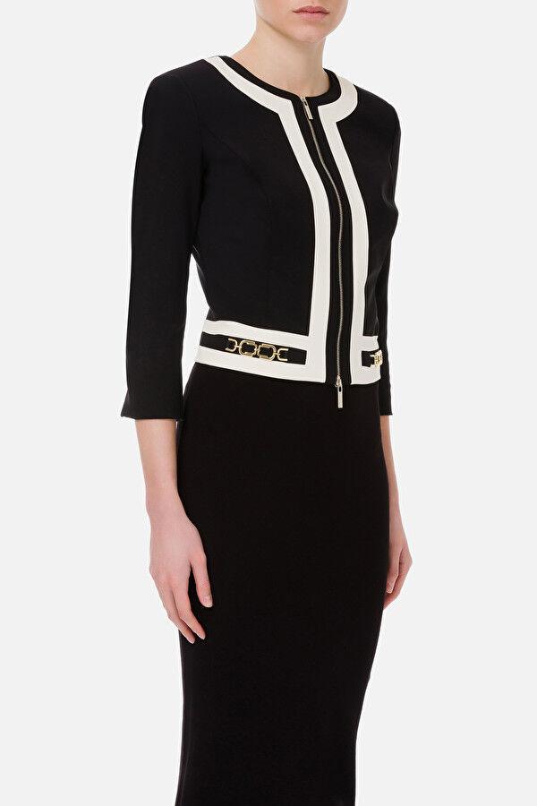 Short Bicolor Jacket With Light Gold Clamps - Elisabetta Franchi