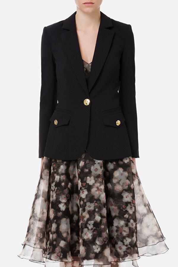 Light Gold Button V-Neck Jacket - Elisabetta Franchi