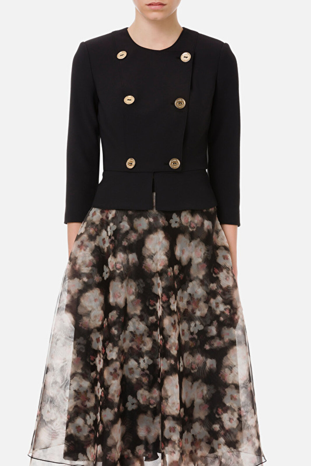 Jacket With 3/4 Sleeve And Antique Gold Buttons - Elisabetta Franchi