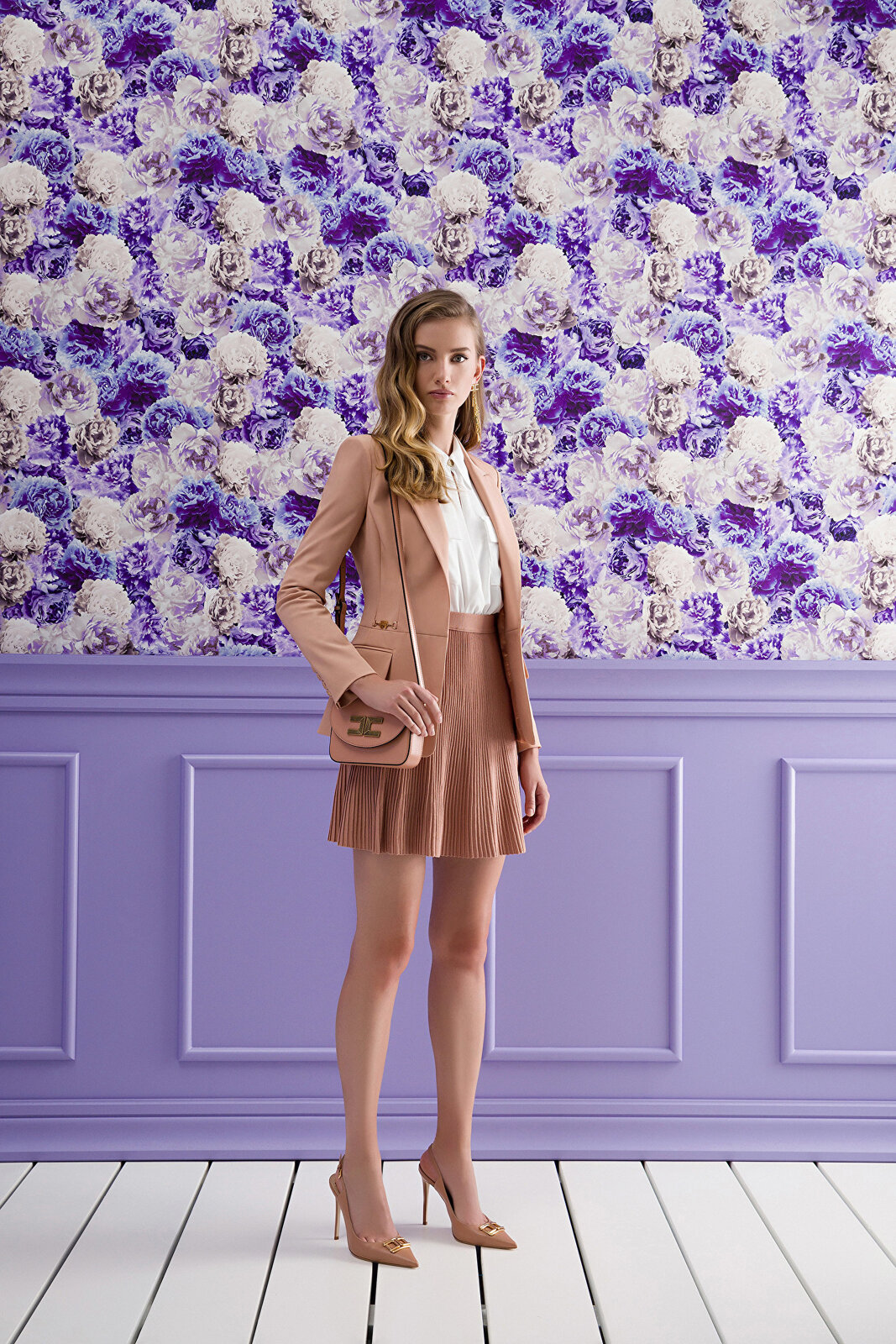 Jacket With Neckline And Light Gold Clamp Accessory - Elisabetta Franchi
