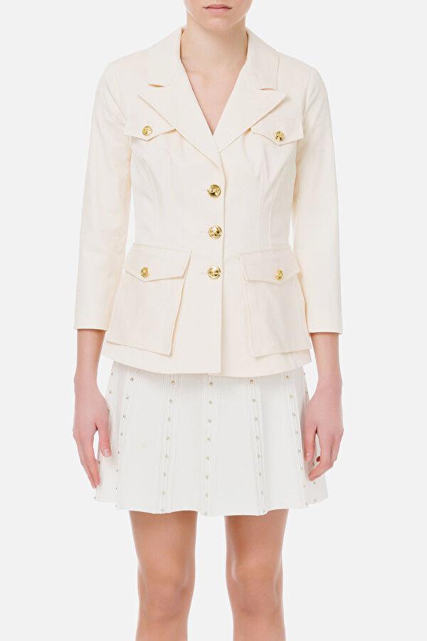 Jacket With Lapels And Light Gold Button Elisabetta Franchi - Elisabetta Franchi