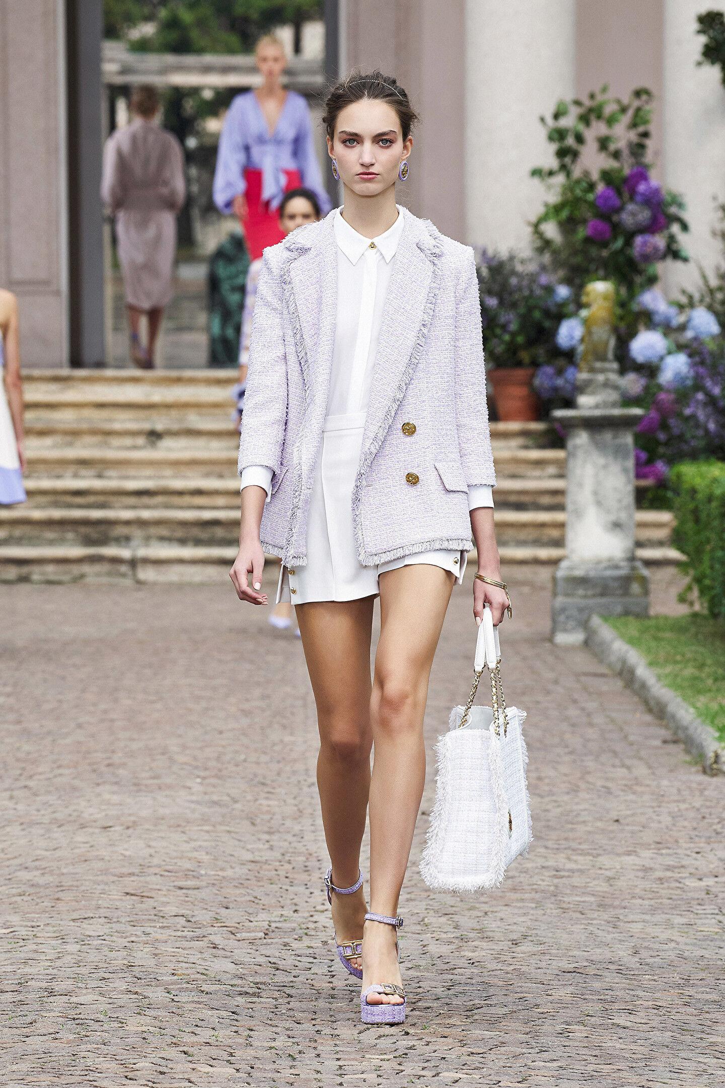 Double-Breasted 3/4 Sleeve Tweed Jacket - Elisabetta Franchi
