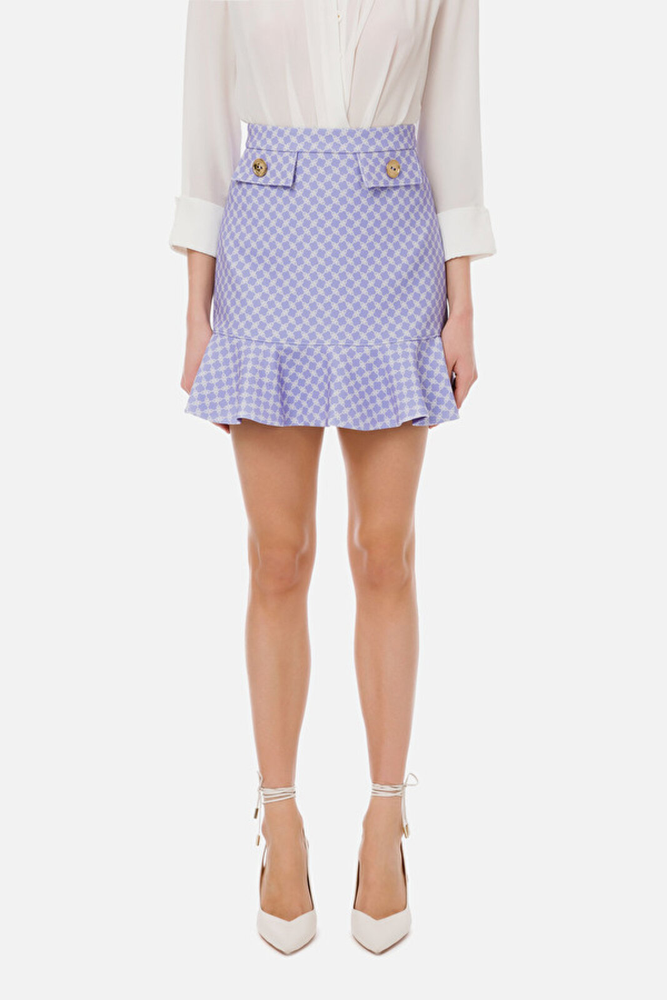 Mini Skirt With Horsebit Print And Gold Buttons - Elisabetta Franchi