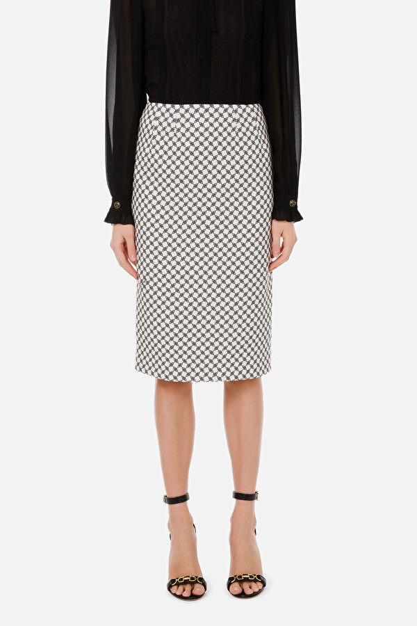 Longuette Skirt with Horsebit Print - Elisabetta Franchi