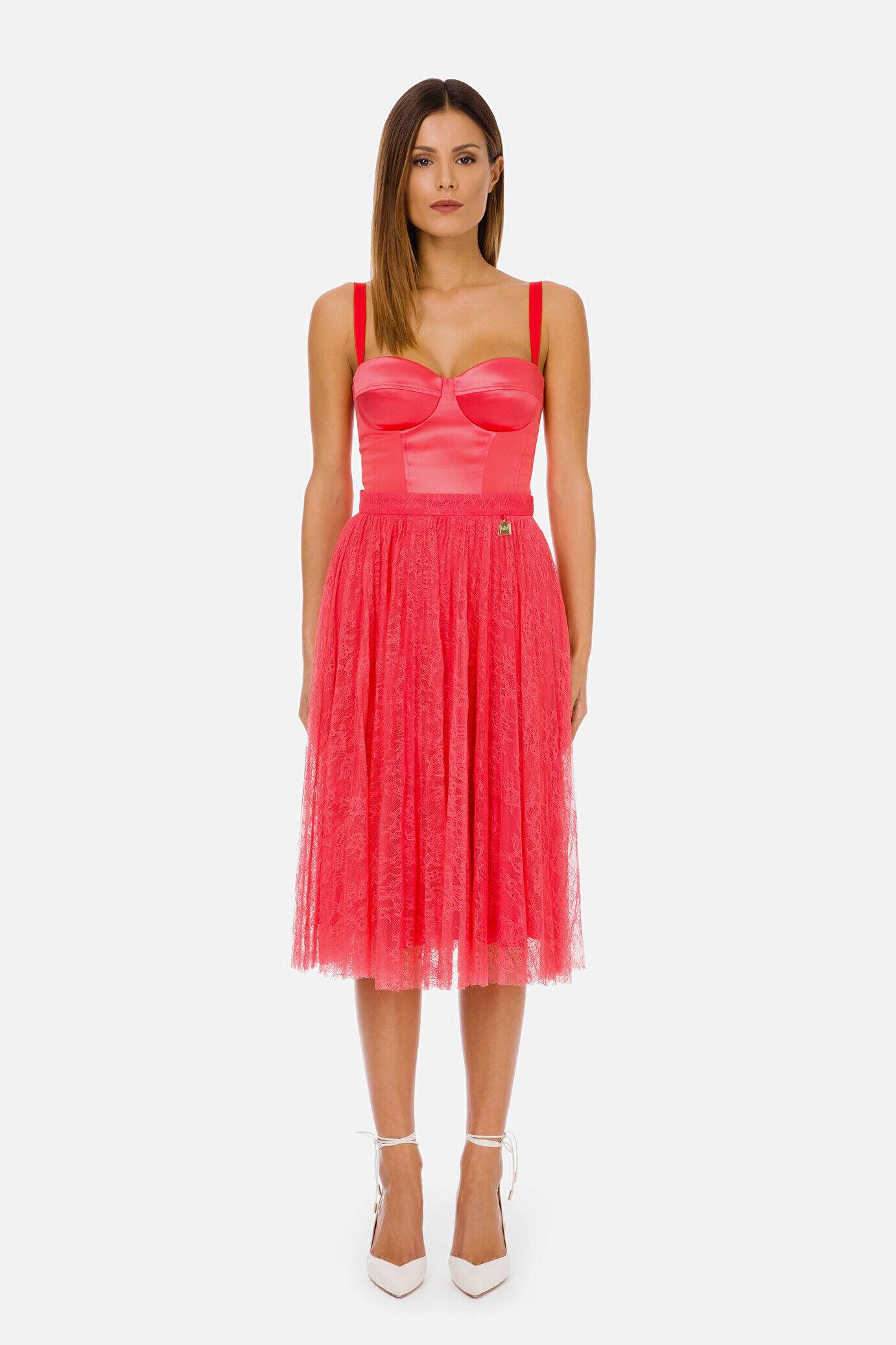 Pleated Lace Longuette Skirt - Elisabetta Franchi