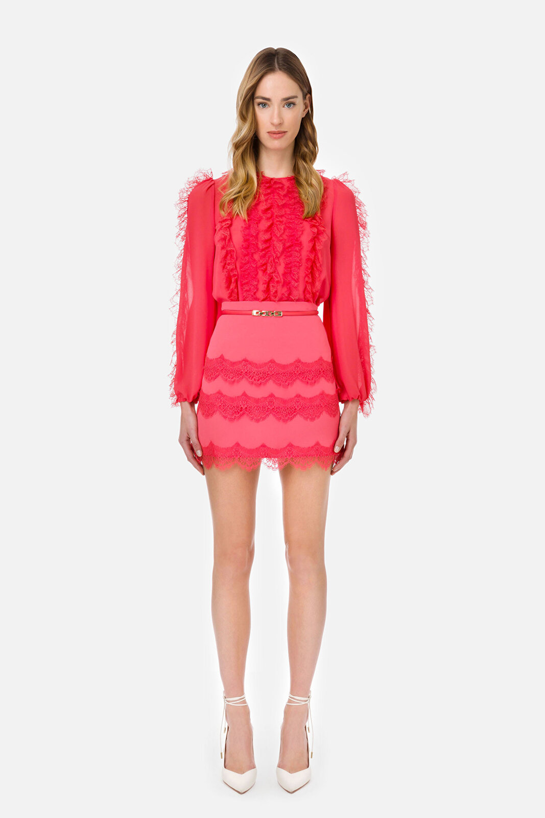 Mini Skirt With Belt And Lace - Elisabetta Franchi