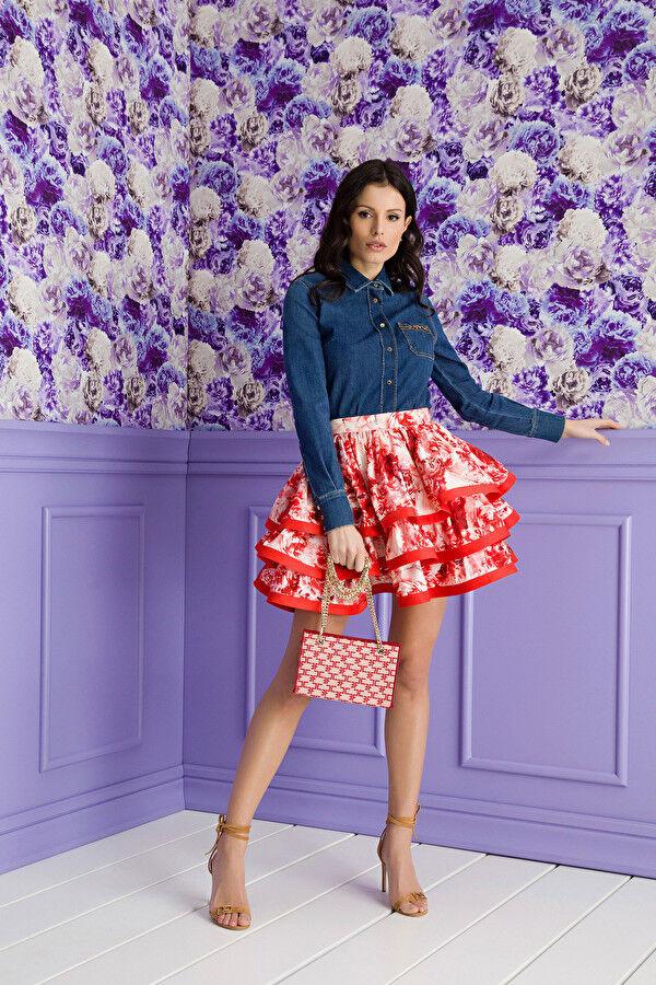 Ottoman Mini Skirt With Peony Print - Elisabetta Franchi