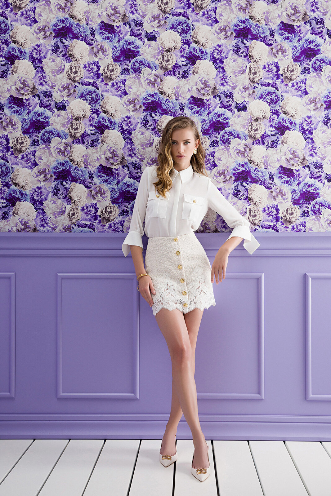 Mini Skirt With Buttons And Lace To Match - Elisabetta Franchi