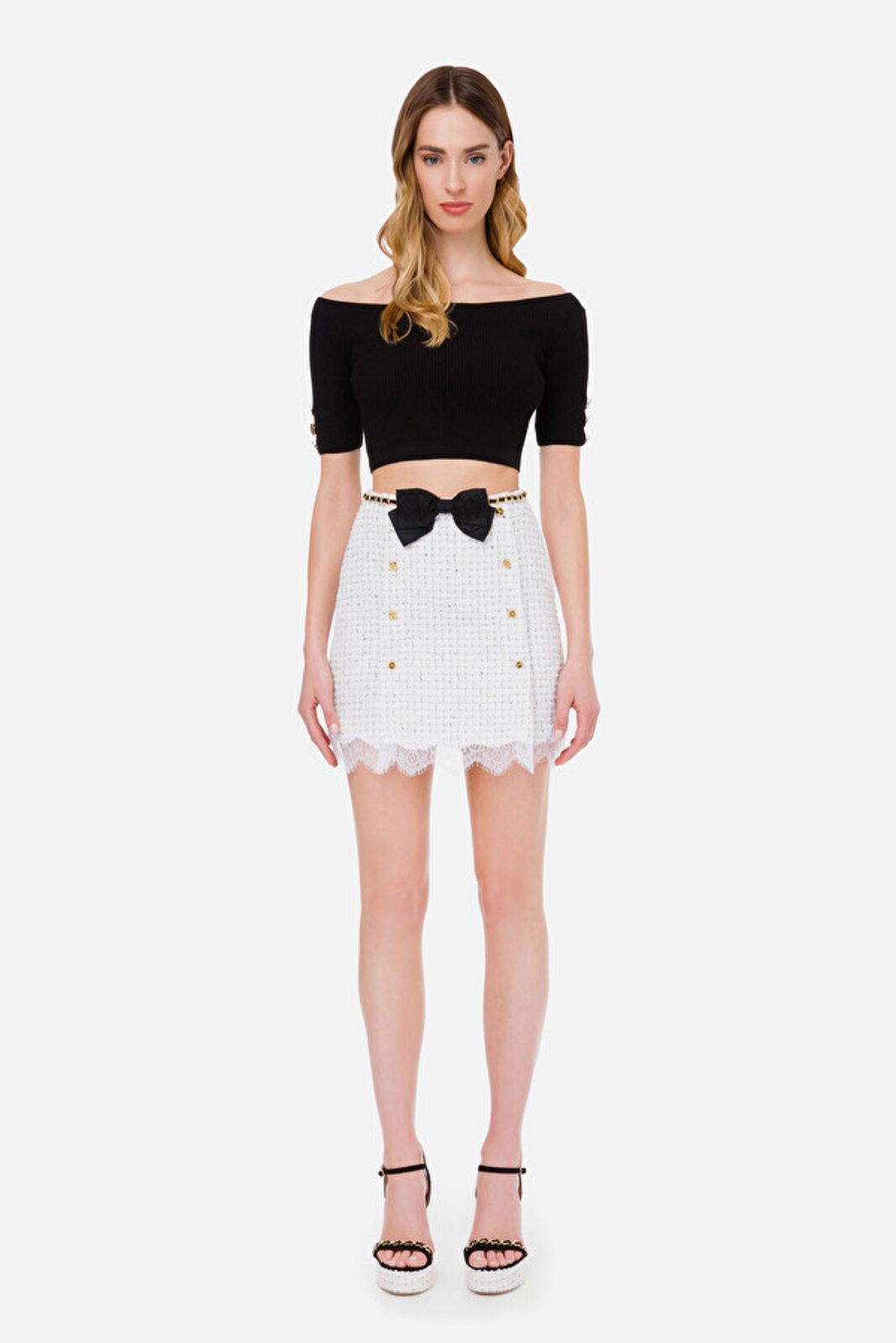 Mini Skirt With Belt And Bow - Elisabetta Franchi