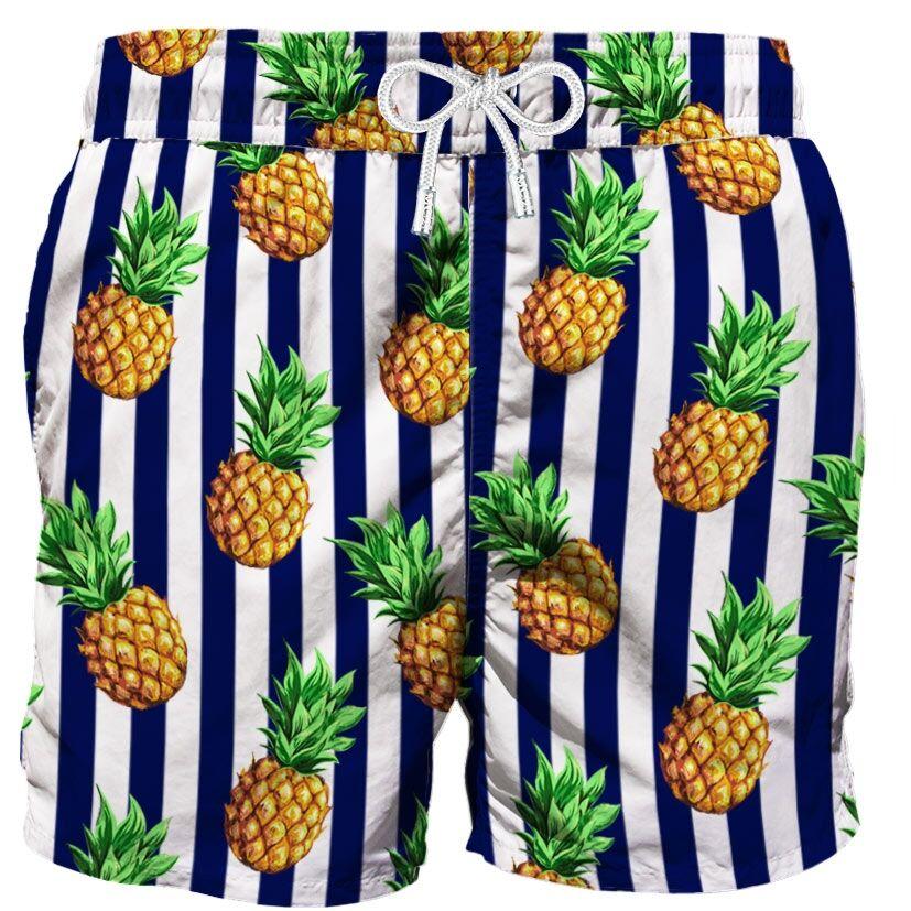 Costume Mare Ananas Su Fondo A Righe Blu - MC2 Saint Barth