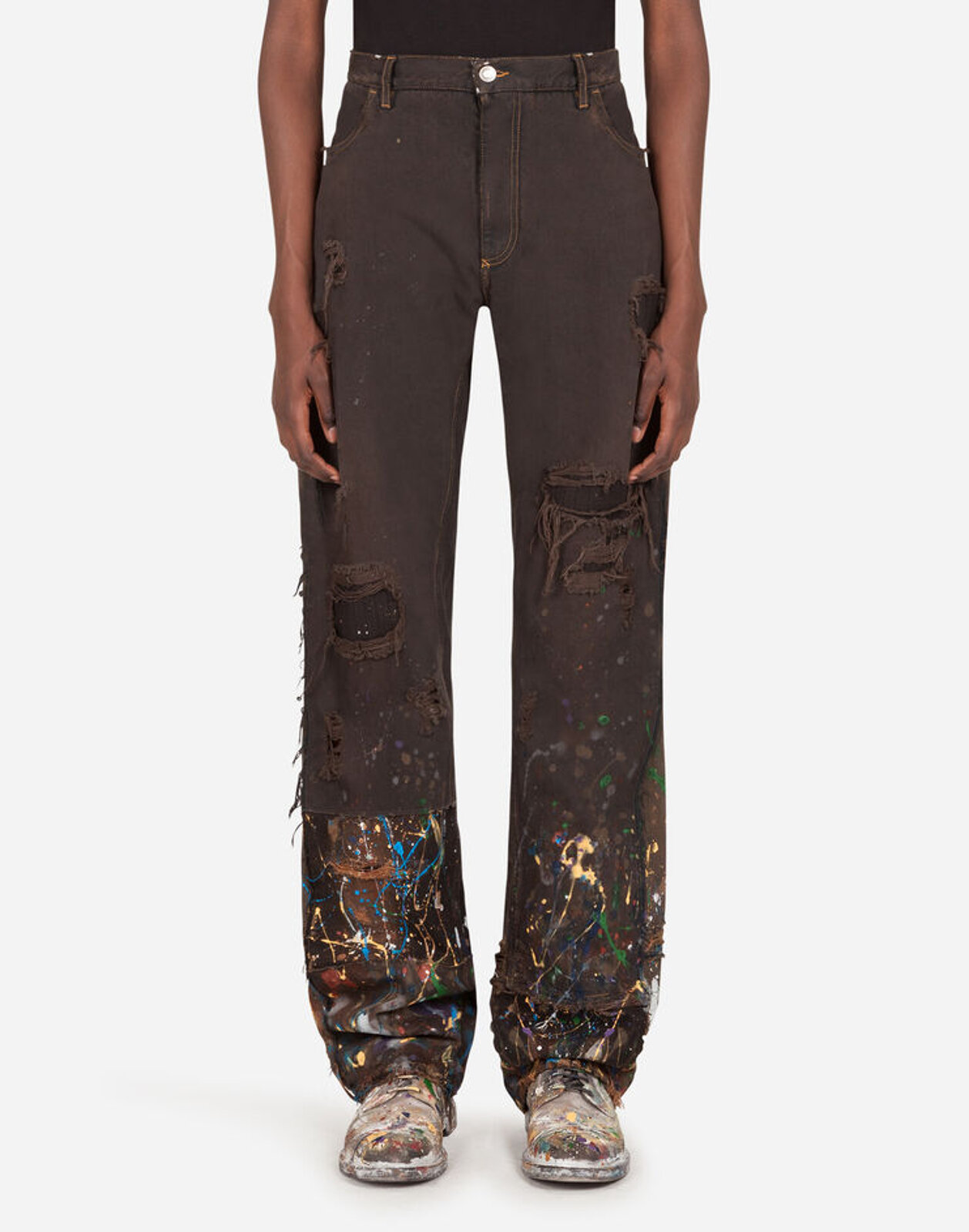 Color Dripping Effect Denim Trousers - Dolce & Gabbana