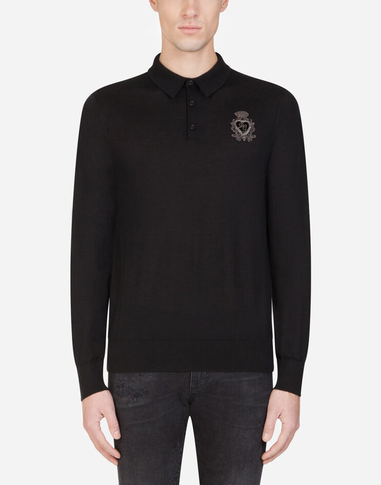 Maglia Polo In Cashmere Con Patch Araldico - Dolce & Gabbana