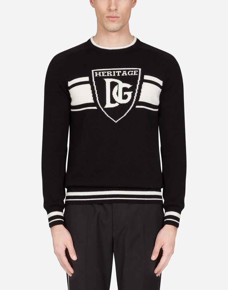 Maglia Girocollo Cashmere Logo Dg Jacquard - Dolce & Gabbana