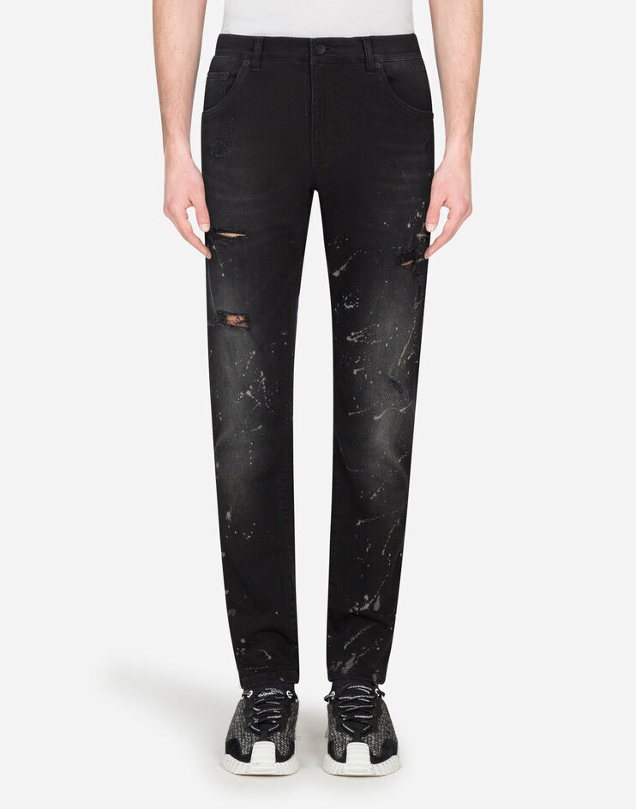 Color Dripping Effect Slim Denim Trousers - Dolce & Gabbana
