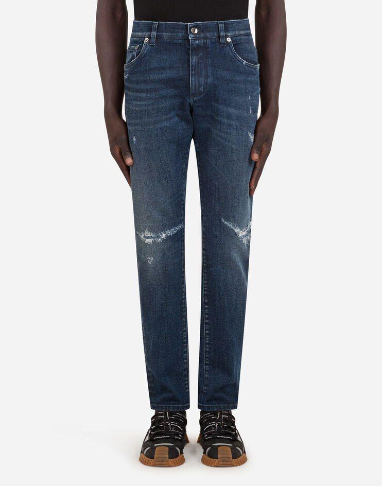 Blue Slim Stretch Jeans With Tears - Dolce & Gabbana