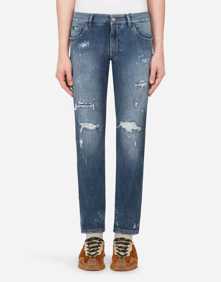 Slim Stretch Light Blue Jeans With Tears - Dolce & Gabbana