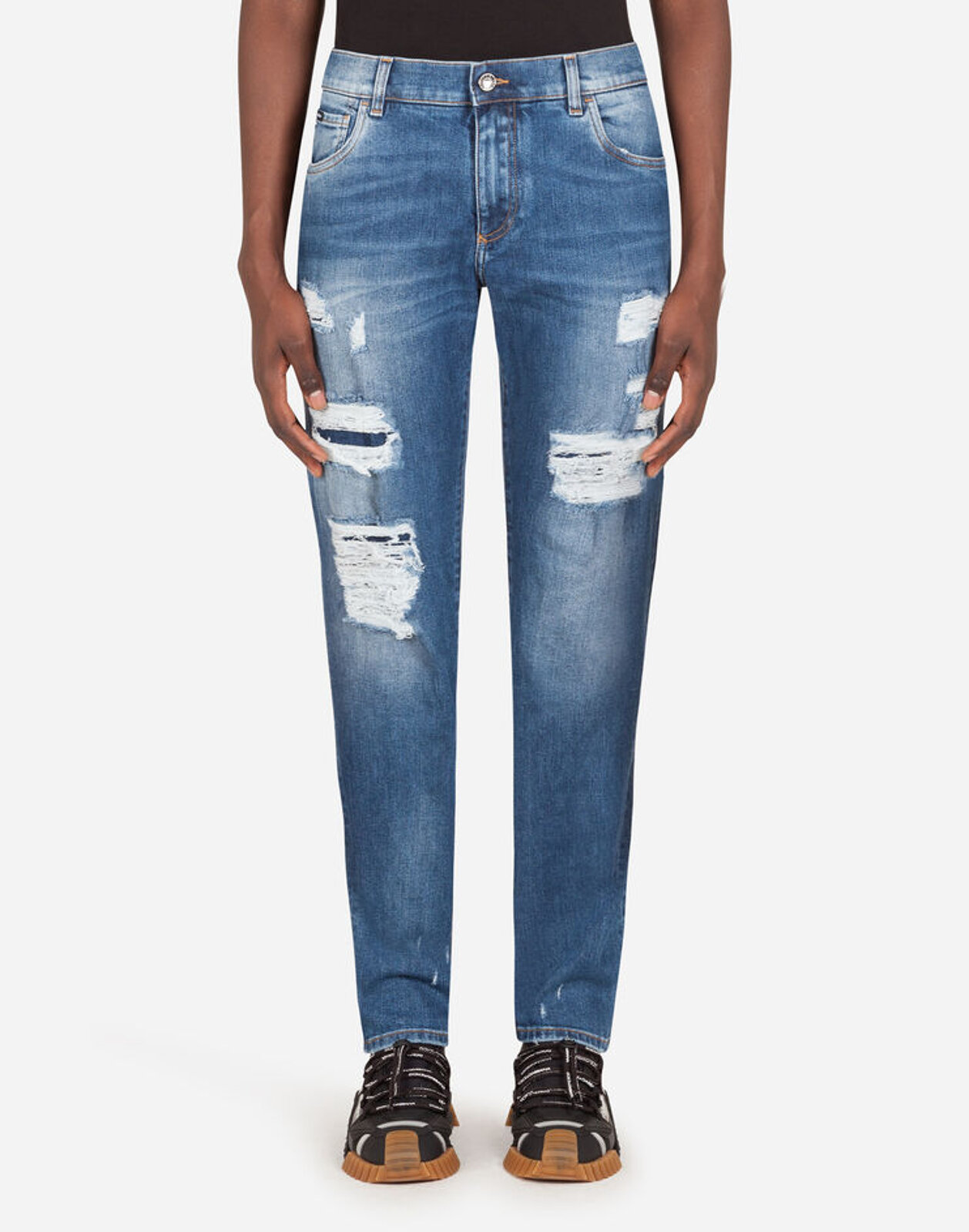 Washed Blue Slim Stretch Jeans With Tears - Dolce & Gabbana