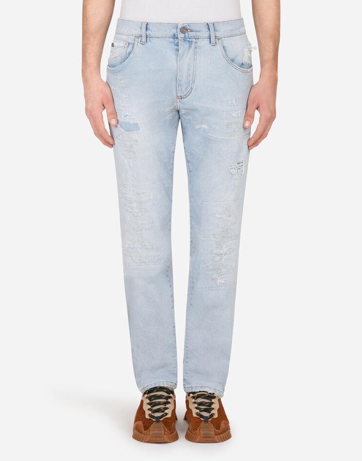 Light Blue Slim Stretch Jeans With Stitched Tears - Dolce & Gabbana