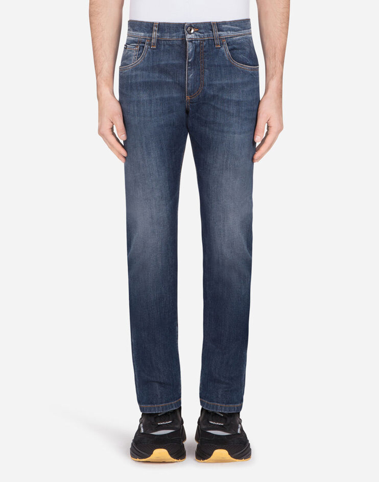 Medium Blue Slim Stretch Jeans With Dg Embroidery - Dolce & Gabbana