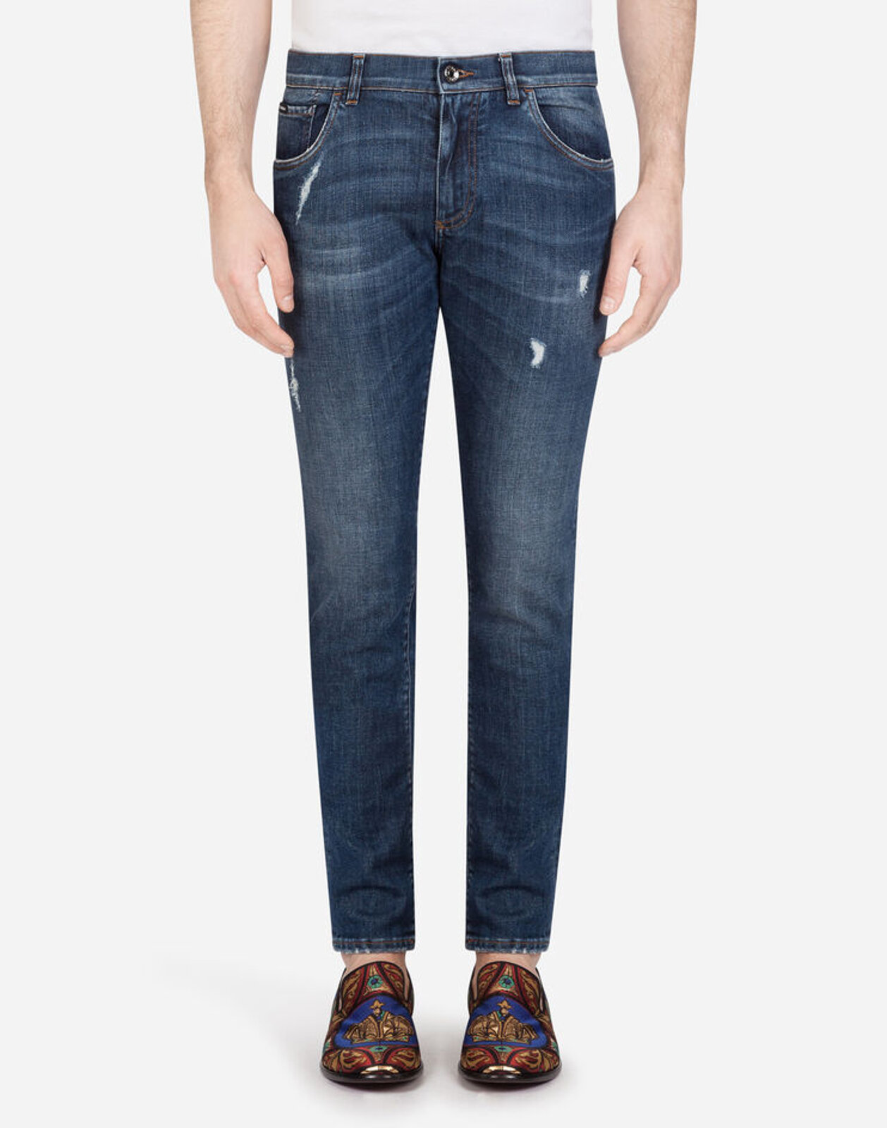 Skinny Stretch Jeans With Small Abrasions - Dolce & Gabbana