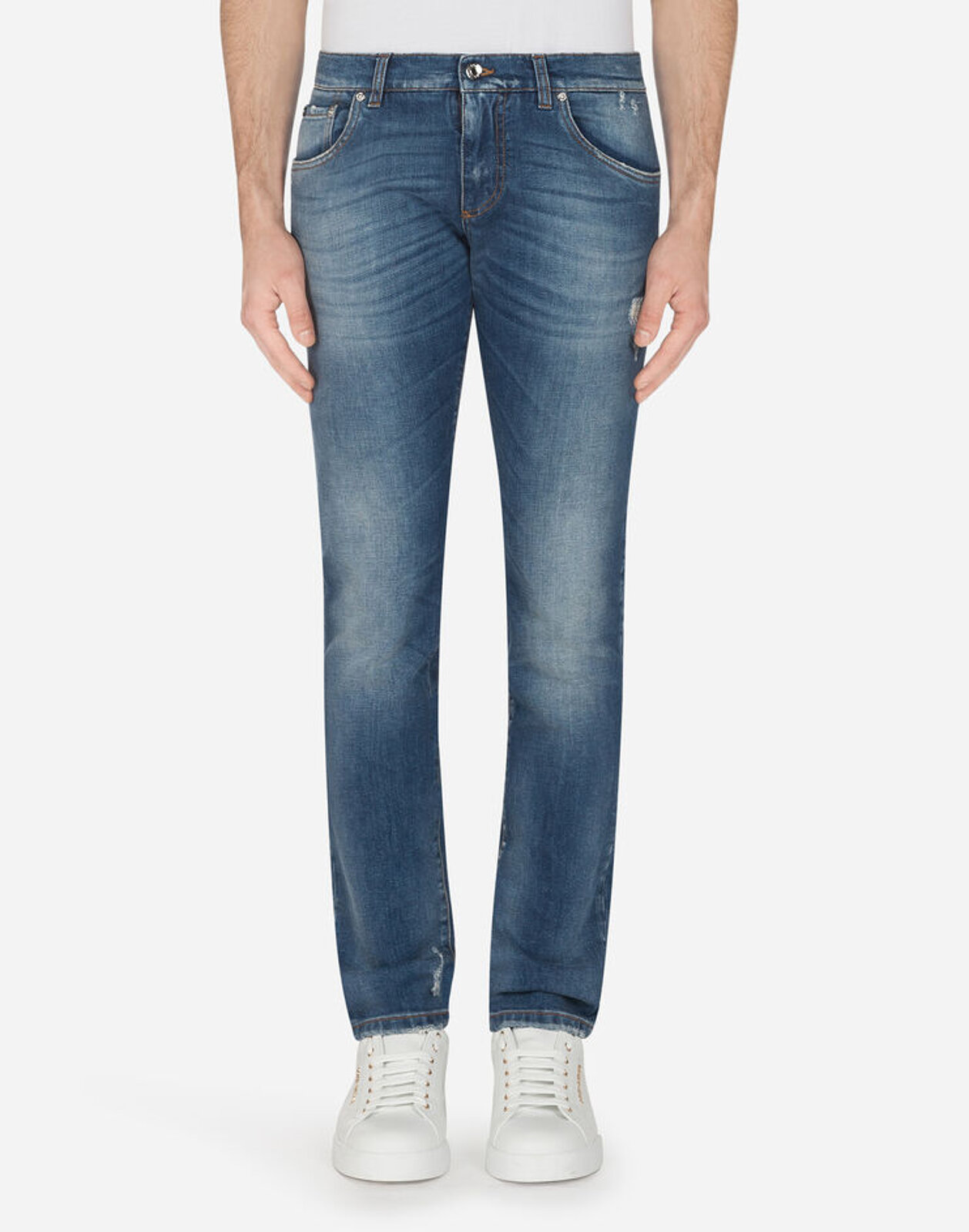 Stretch Skinny Jeans Printed Cotton Details - Dolce & Gabbana