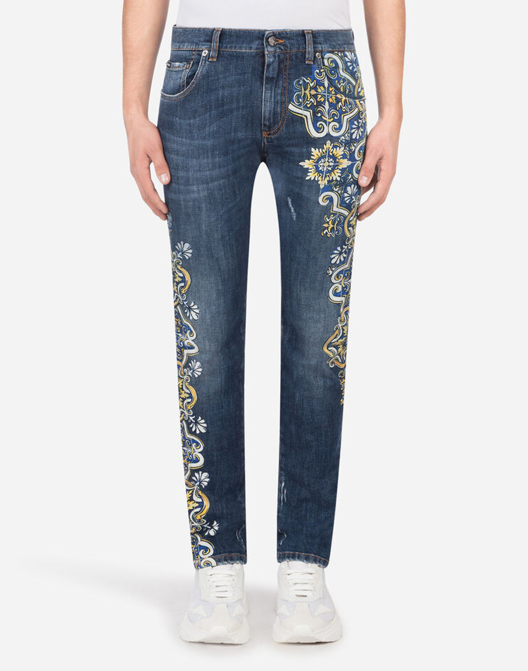 Skinny Stretch Blue Jeans with Majolica Print - Dolce & Gabbana