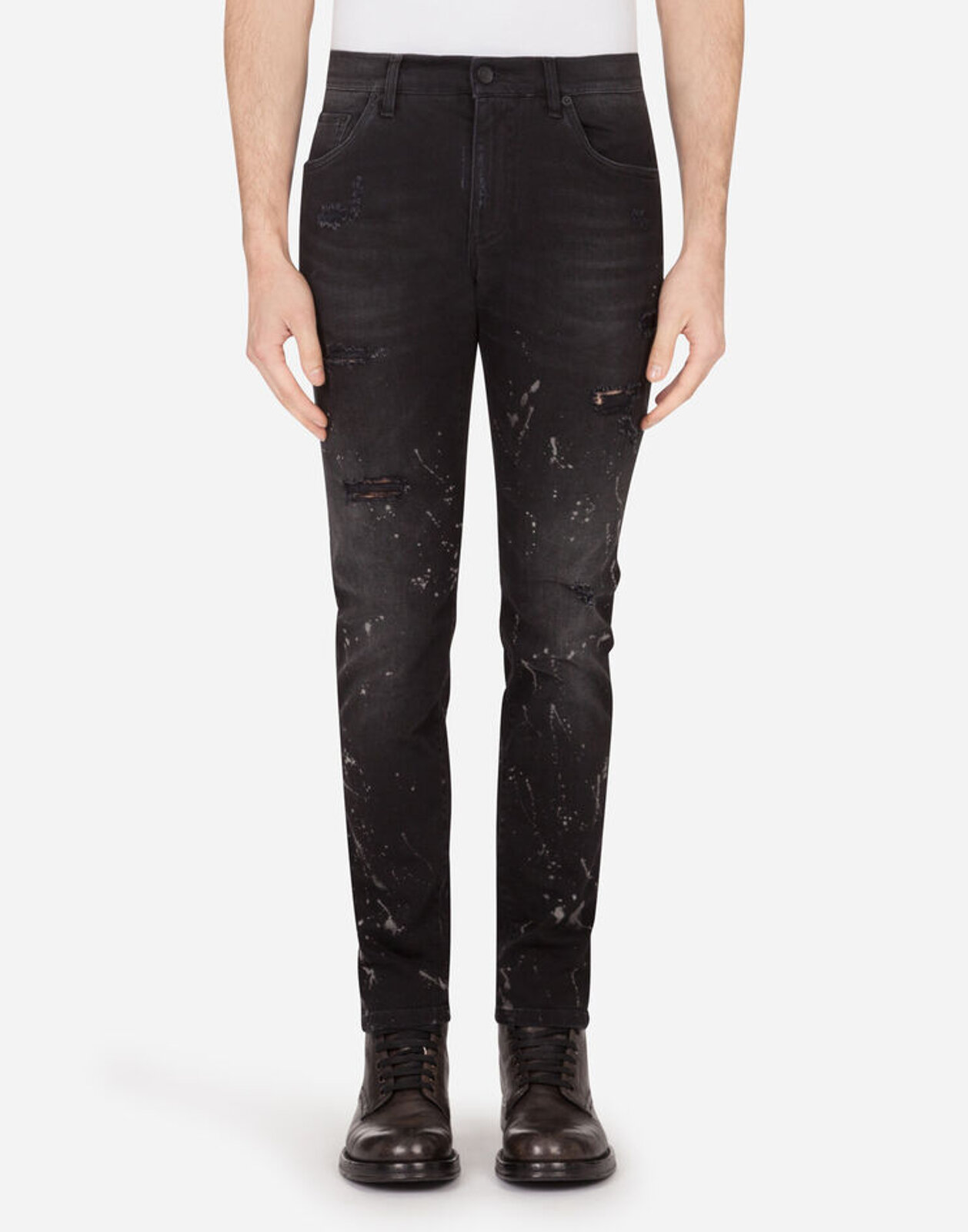 Black Spotted Stretch Skinny Jeans With Tears - Dolce & Gabbana