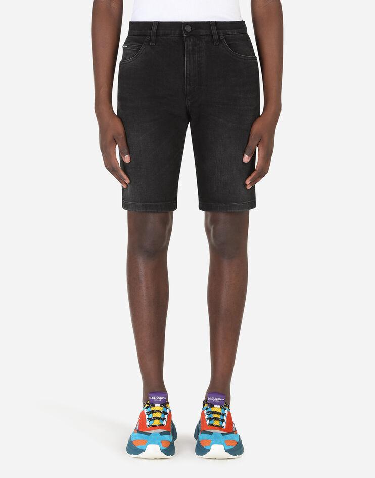 Bermuda Jeans Stretch Nero Lavato - Dolce & Gabbana
