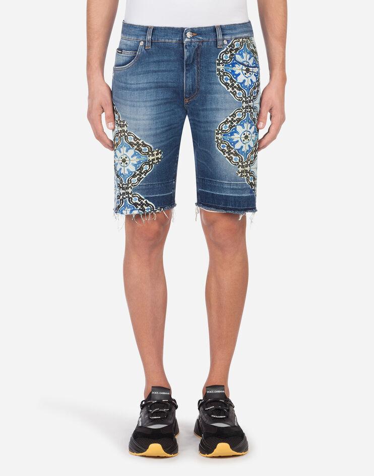 Bermuda Jeans Stretch Stampa Maioliche - Dolce & Gabbana