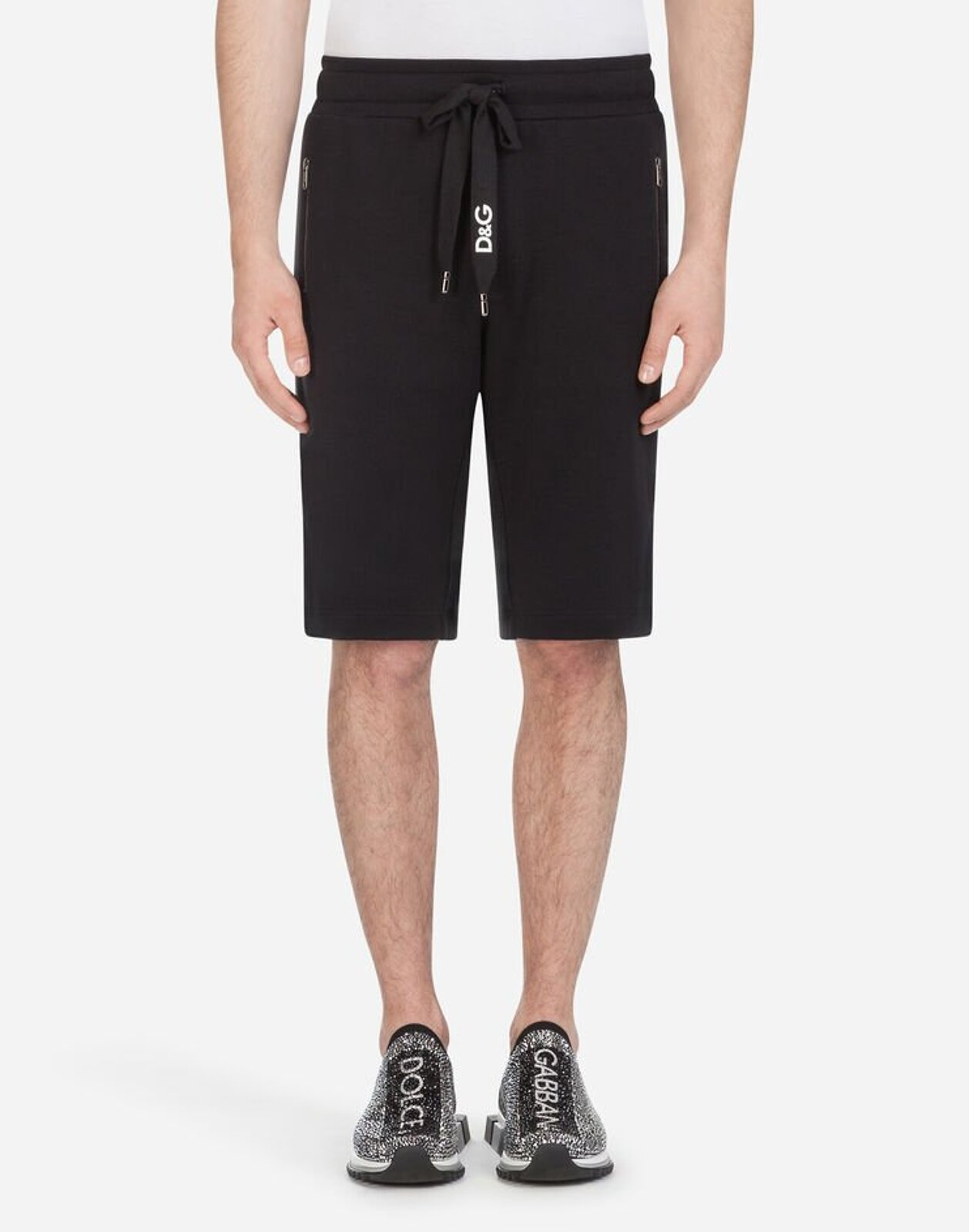 Cotton Jogging Bermuda Shorts With Embroidery - Dolce & Gabbana