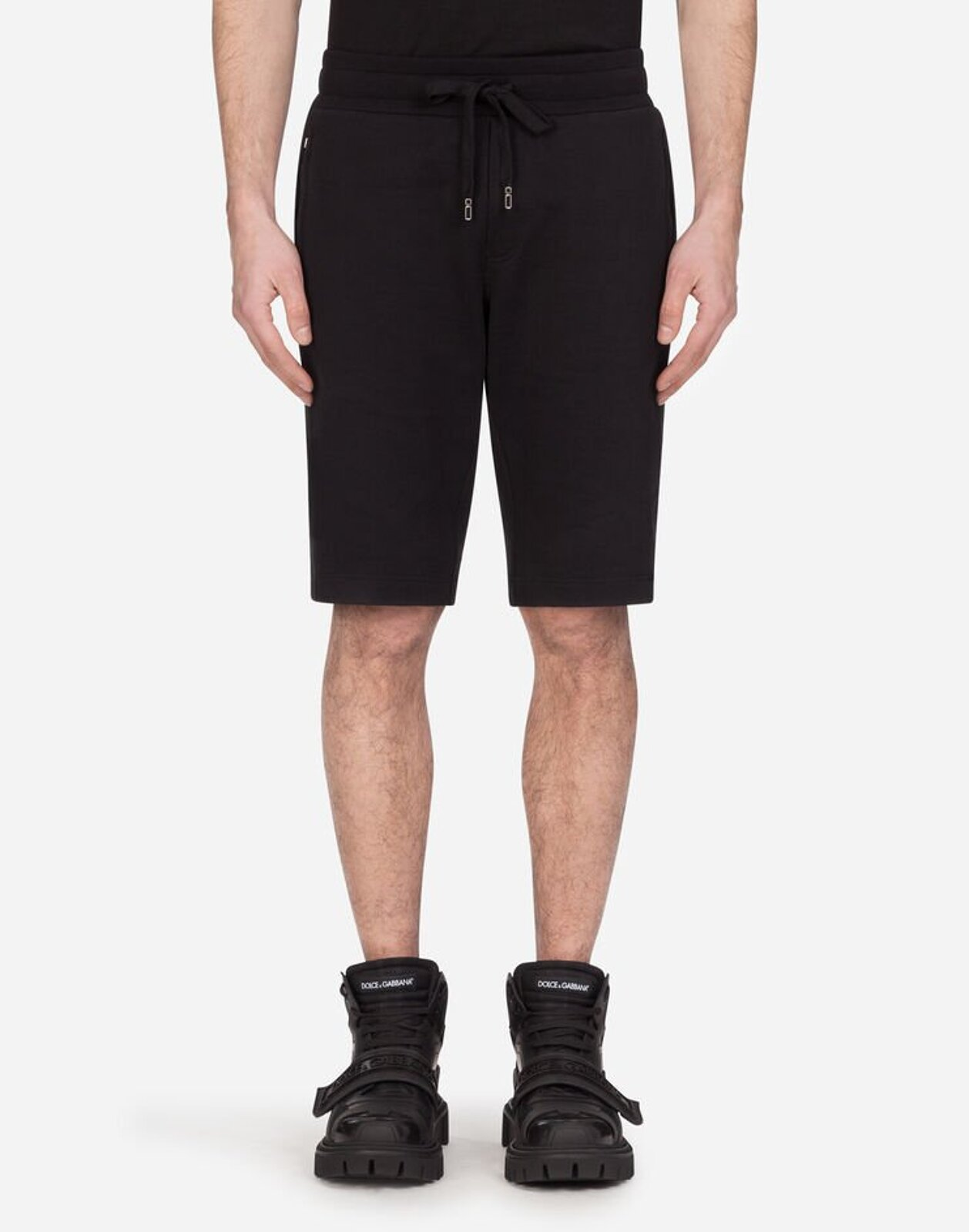 Cotton Jogging Bermuda Shorts With Patch - Dolce & Gabbana