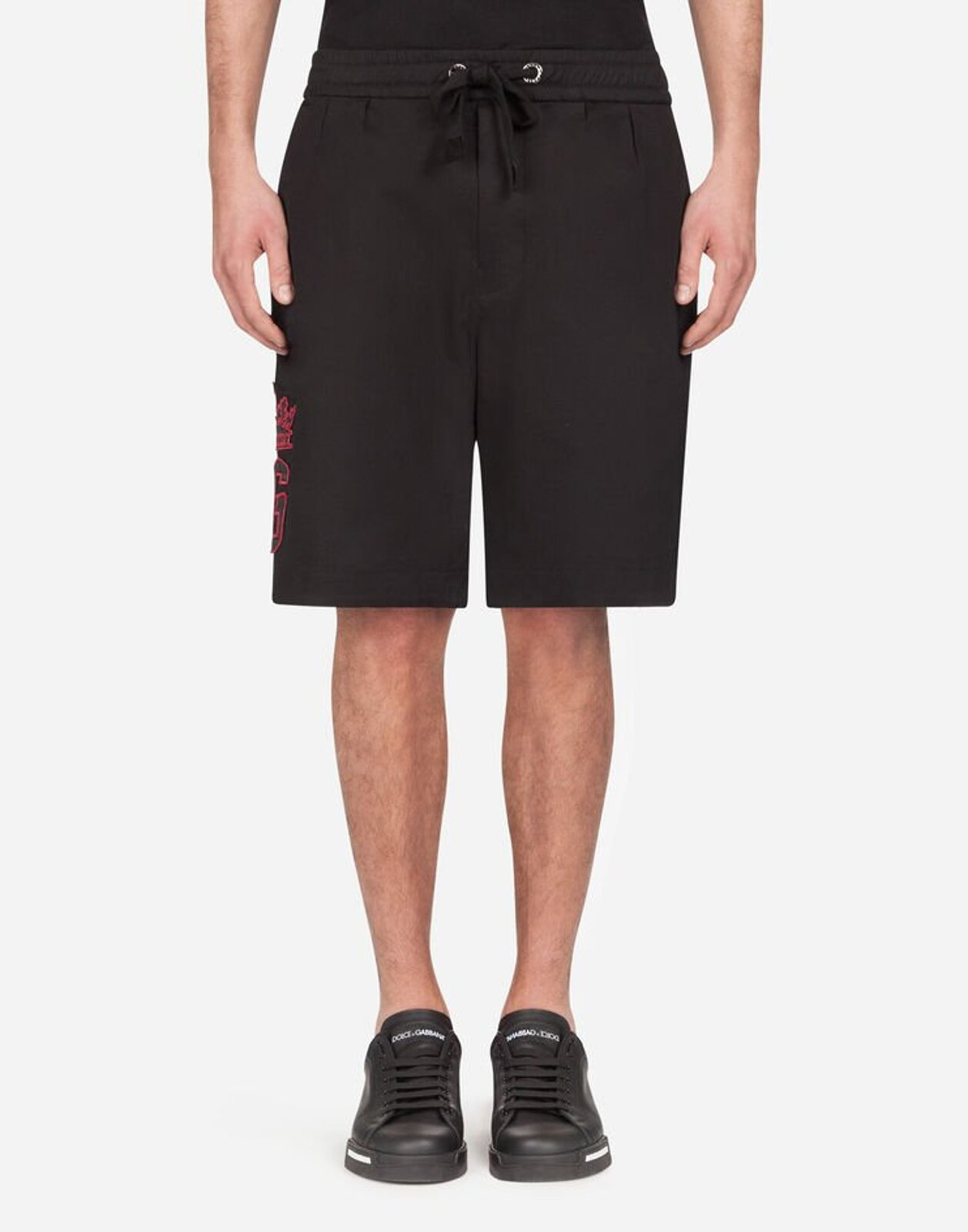 Stretch Cotton Jogging Bermuda Shorts With Dg Patch - Dolce & Gabbana