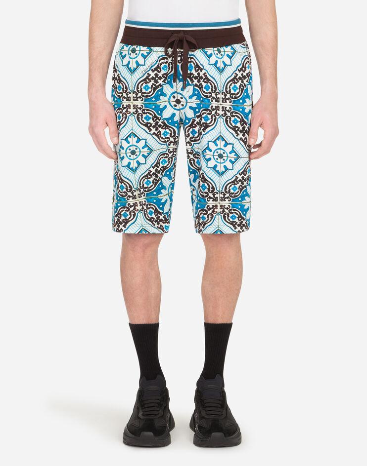 Bermuda Jogging Cotone Stampa Maioliche - Dolce & Gabbana