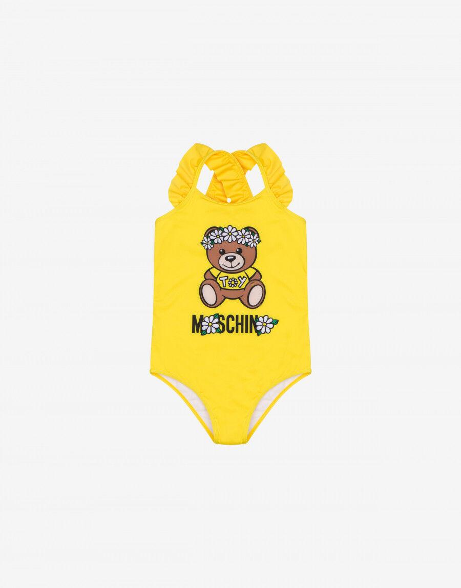Costume Da Bagno Intero In Lycra Con Logo Moschino Flower E Teddy Bear - Moschino Junior
