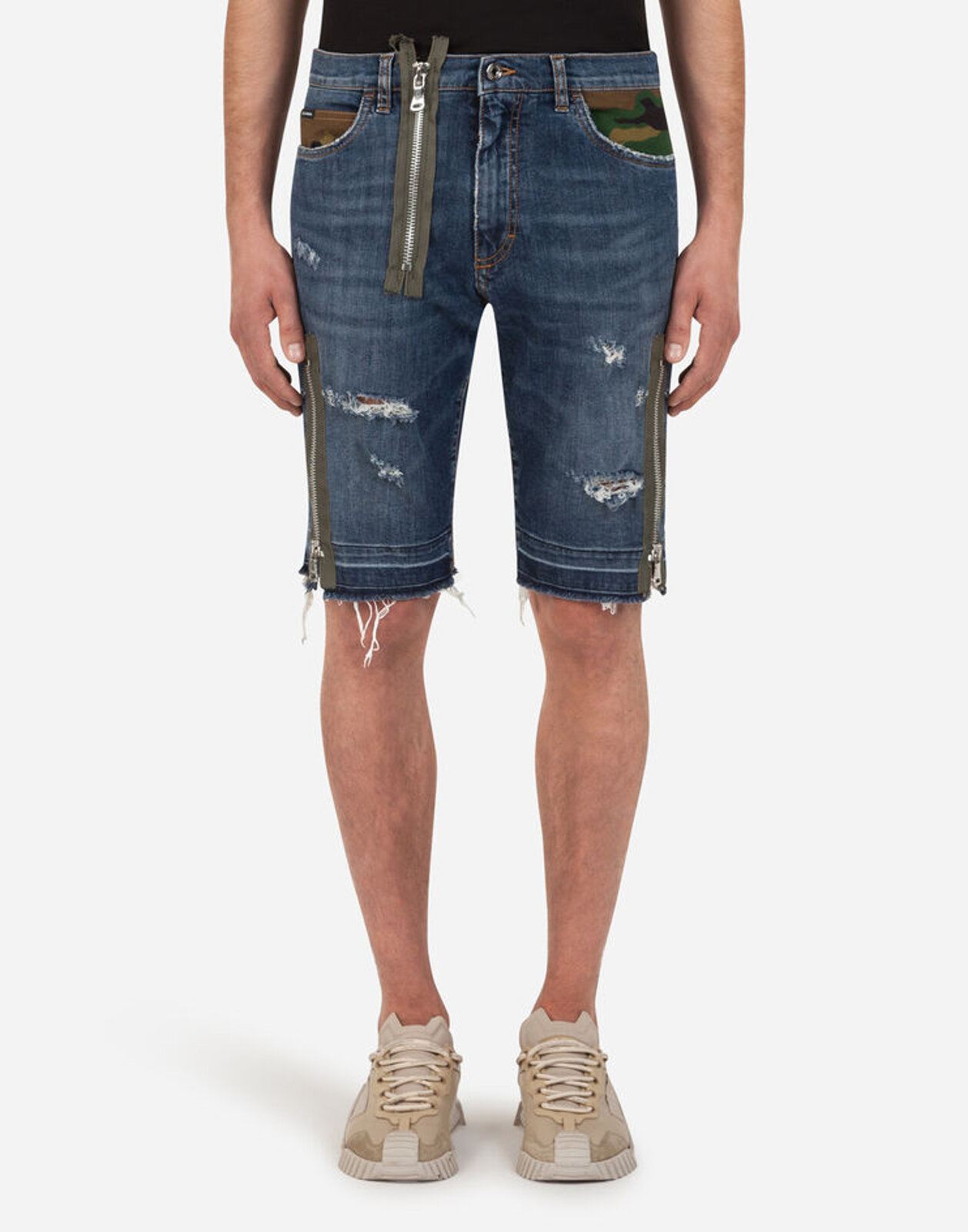 Denim Bermuda Shorts With Patch And Zip - Dolce & Gabbana