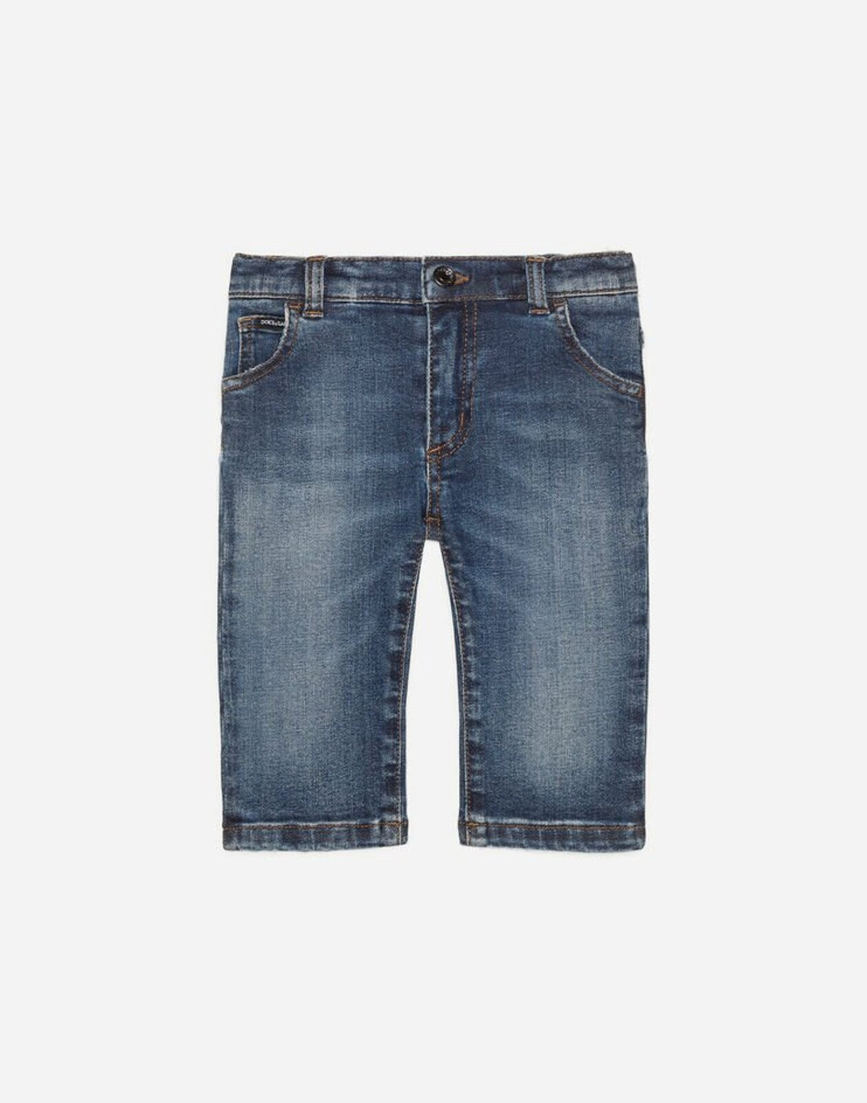 Jeans Regular Stretch Blu Scuro Lavato - Dolce & Gabbana Junior