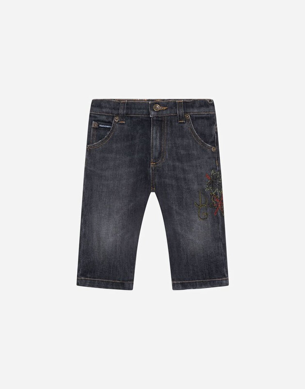 Jeans Regular Stretch Antracite Ricamo Foglie Dg - Dolce & Gabbana Junior