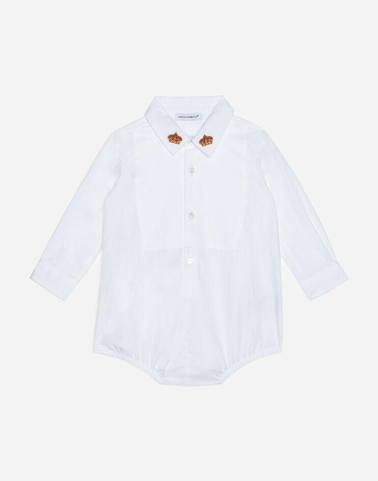 Body Camicia Con Plastron E Ricamo Corona - Dolce & Gabbana Junior