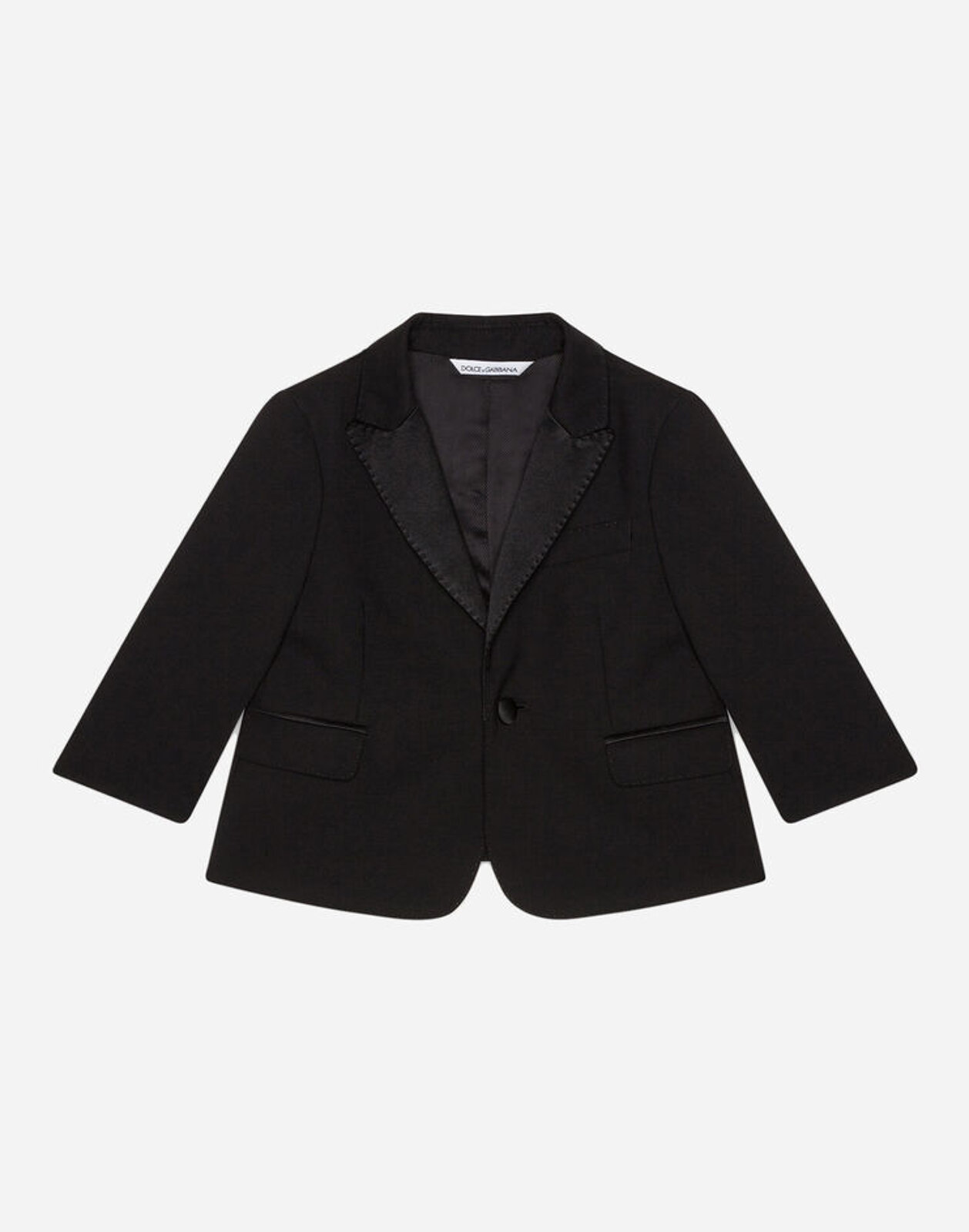 Abito Tuxedo Monopetto In Tela Lana Stretch - Dolce & Gabbana Junior