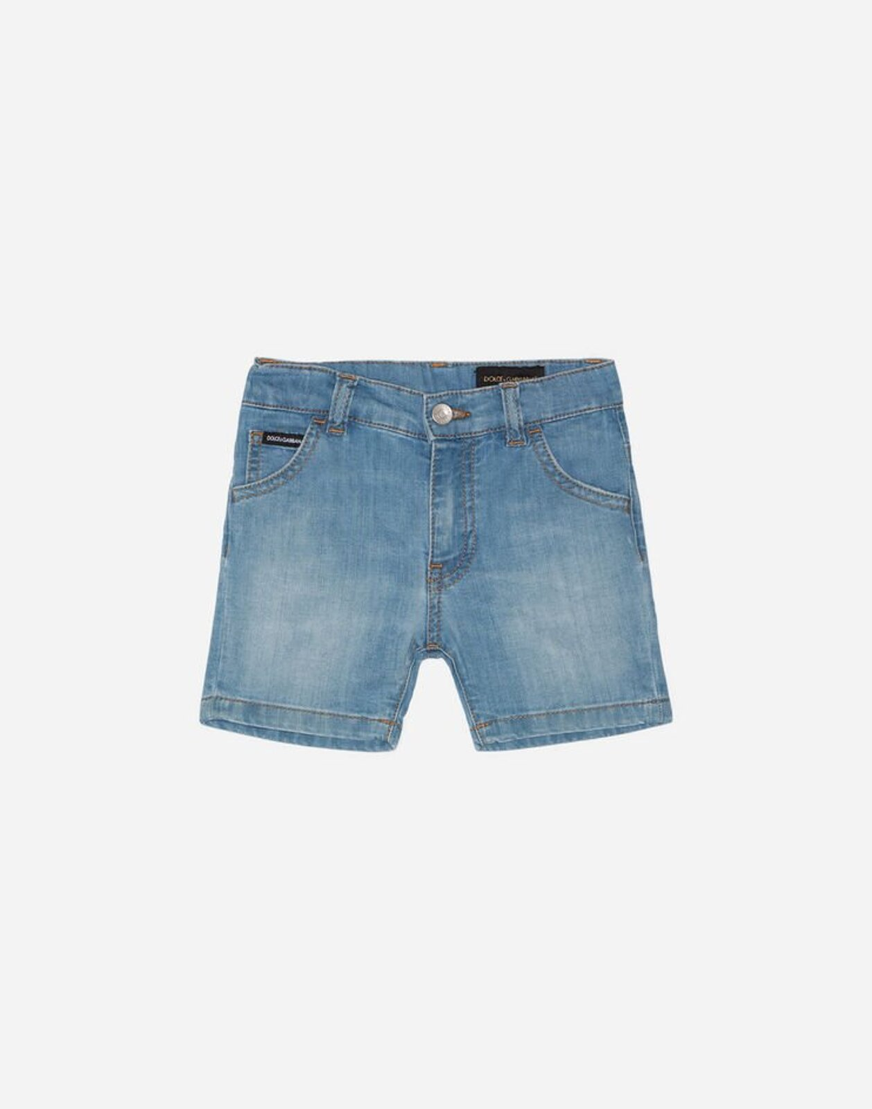 Bermuda In Denim Stretch Carta Da Zucchero Lavato - Dolce & Gabbana Junior