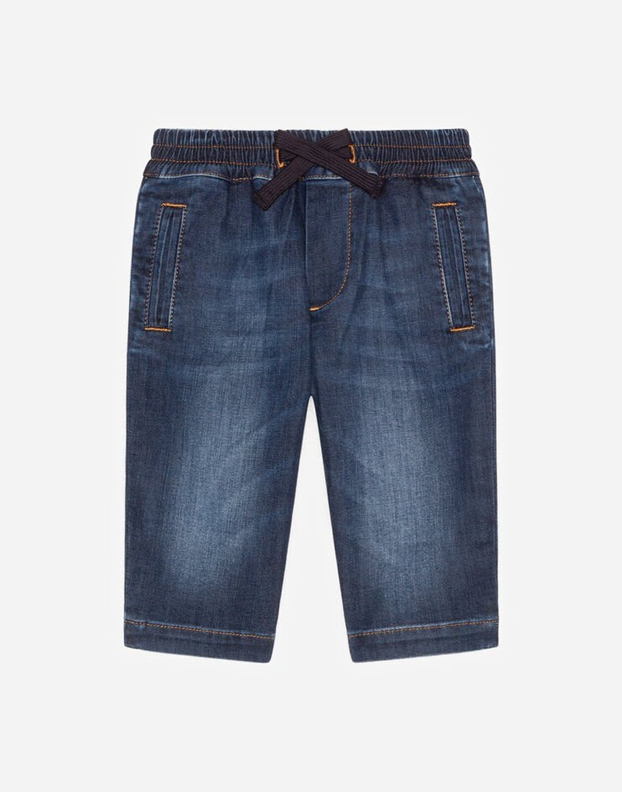 Pantalone In Denim Stretch Blu Scurissimo - Dolce & Gabbana Junior