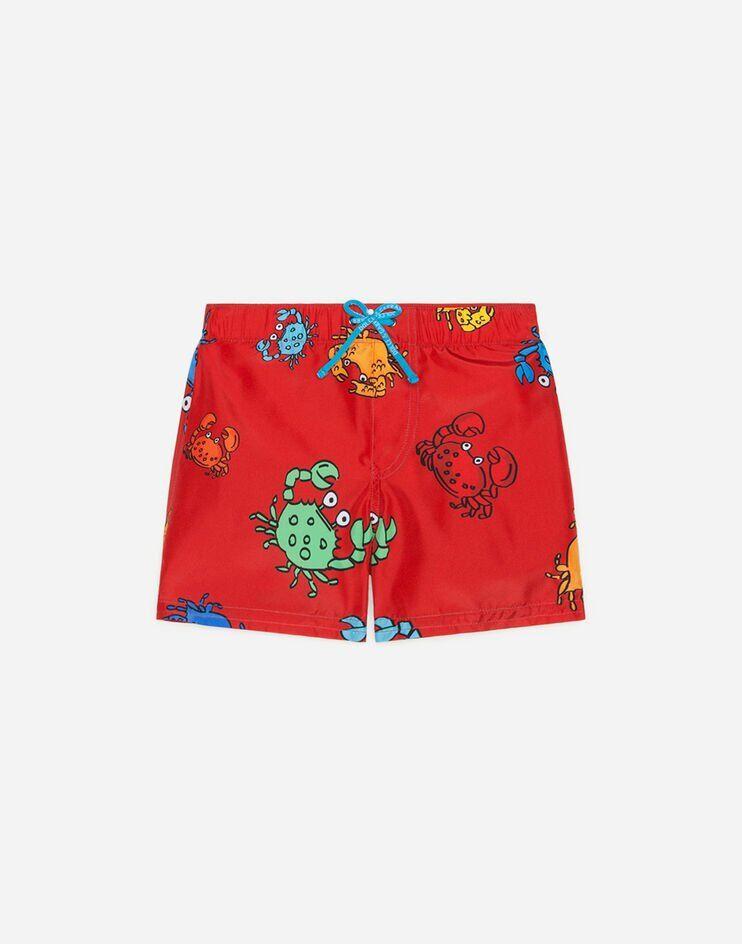 Boxer Da Mare In Nylon Stampa Granchi - Dolce & Gabbana Junior